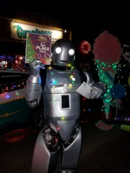 robot in Christmas lights