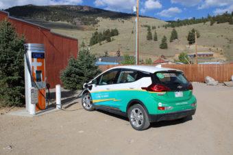 EV parked at charging station