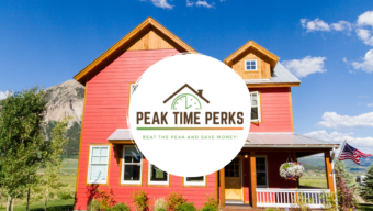 peak time perks: beat the peak and save money. house with mountains in distance