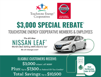 Touchstone energy cooperative members and employees. $3,000 special rebate. Plus up to $7,500 in federal ev tax credits. total savings up to $10,500